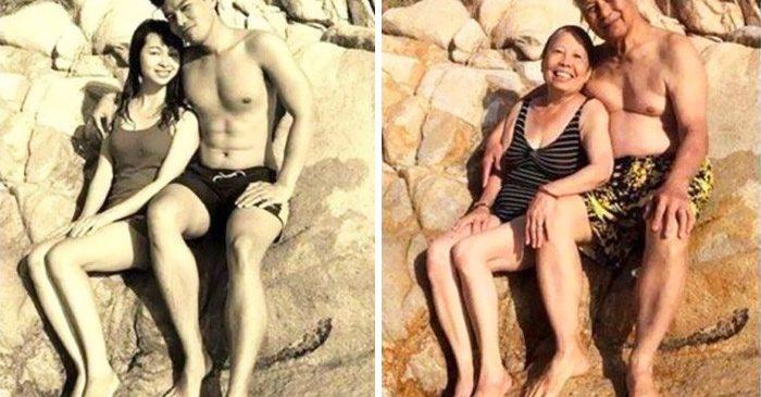 Αγαπημένα ζευγάρια αναπαριστούν παλιές φωτογραφίες και αποδεικνύουν ότι η αγάπη μπορεί να είναι παντοτινή